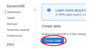 dynamoDB table creation