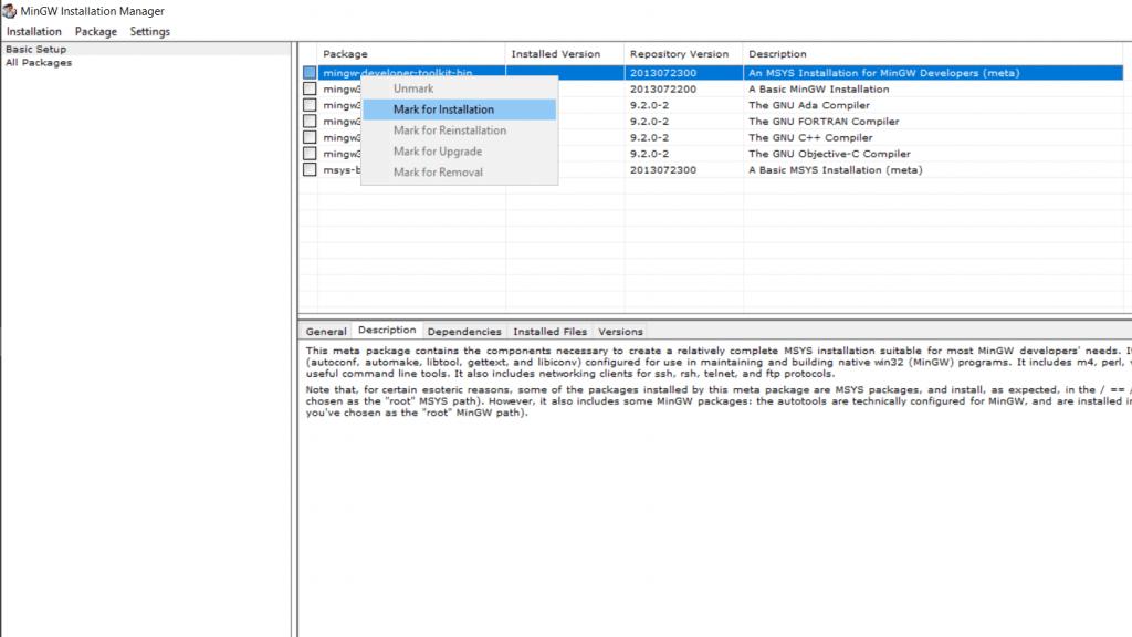 install mingw - select options