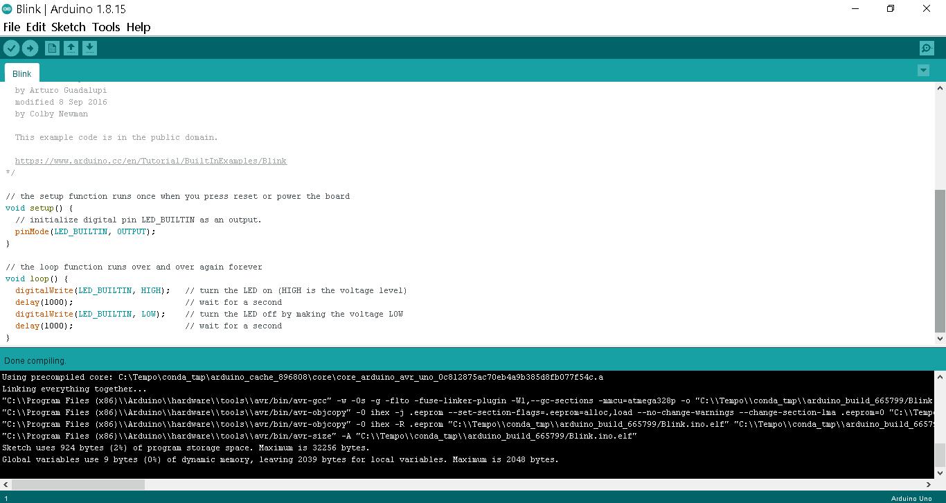 Verification of blink code in Arduino IDE